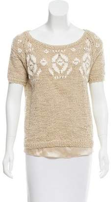 Brunello Cucinelli Crochet Short Sleeve Top