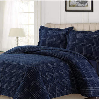Tribeca Living Oxford Plaid Cotton Flannel Printed Oversized Queen Quilt Set