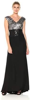 Tadashi Shoji Women's SLVS LACE/Crepe Gown,2