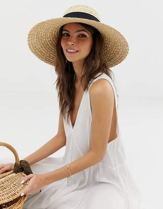 Asos Design DESIGN curve crown flat brim natural straw hat
