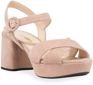 Prada Suede Crisscross Ankle-Wrap 65mm Sandals