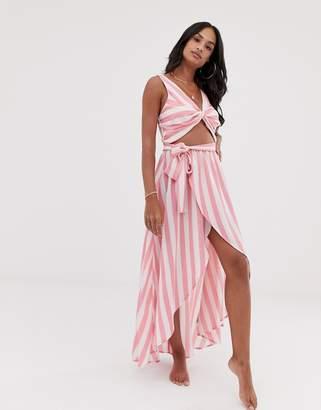 Asos Design DESIGN twist front beach maxi beach dress in stripe