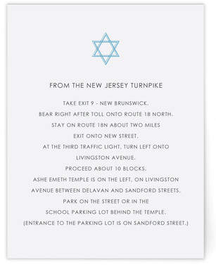 Simple Star Mitzvah Direction Cards