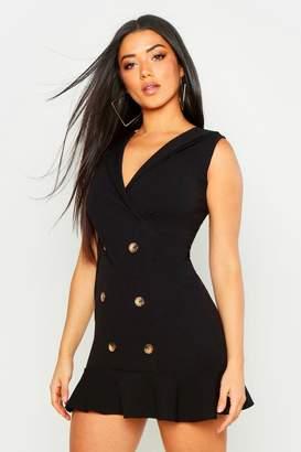 boohoo Wrap Front Frill Hem Blazer Dress