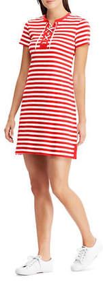Chaps Striped Lace-Up Cotton Dress