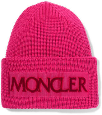 f1926410f20 Moncler Flocked Grosgrain-trimmed Ribbed Wool Beanie - Pink