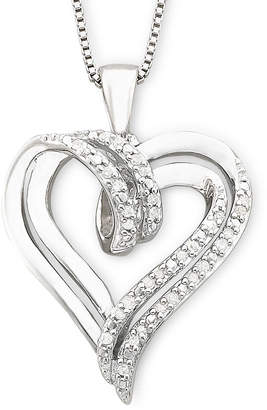 JCPenney FINE JEWELRY 1/10 CT. T.W. Diamond Double-Heart Sterling Silver Pendant Necklace