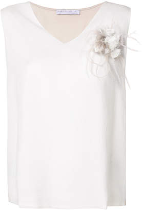 Fabiana Filippi v-neck flower brooch T-shirt