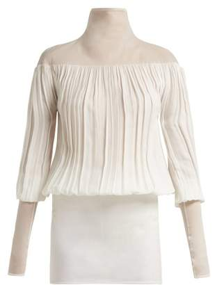 Jil Sander Fois Gathered Twill And Crepe Blouse - Womens - White