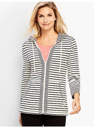 Talbots Bloom Stripe French Terry Hoodie
