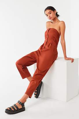 Urban Outfitters Strapless Button-Down Jumpsuit