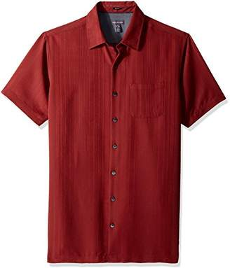 Van Heusen Men's Big and Tall Short Sleeve Rayon Poly Engineered Panel Shirt (Big and Tall & Tall Slim)