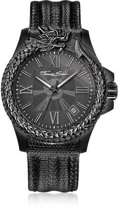 Thomas Sabo Rebel Icon Black Stainless Steel Men's Watch w/Lizard Embossed Leather Strap