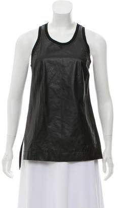 Helmut Lang Sleeveless Leather-Accented Top