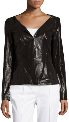 Lafayette 148 New York LIv Patent Leather Jacket, Black $715 thestylecure.com