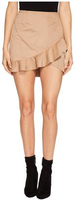 BB Dakota Khan Faux Suede Ruffle Skirt Women's Skirt