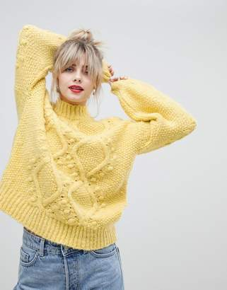 Asos Design DESIGN cable sweater with bobble stitch