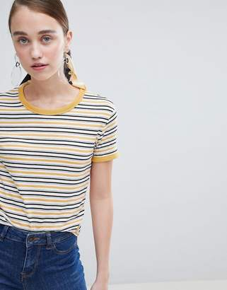 New Look Multi Stripe Contrast Tee
