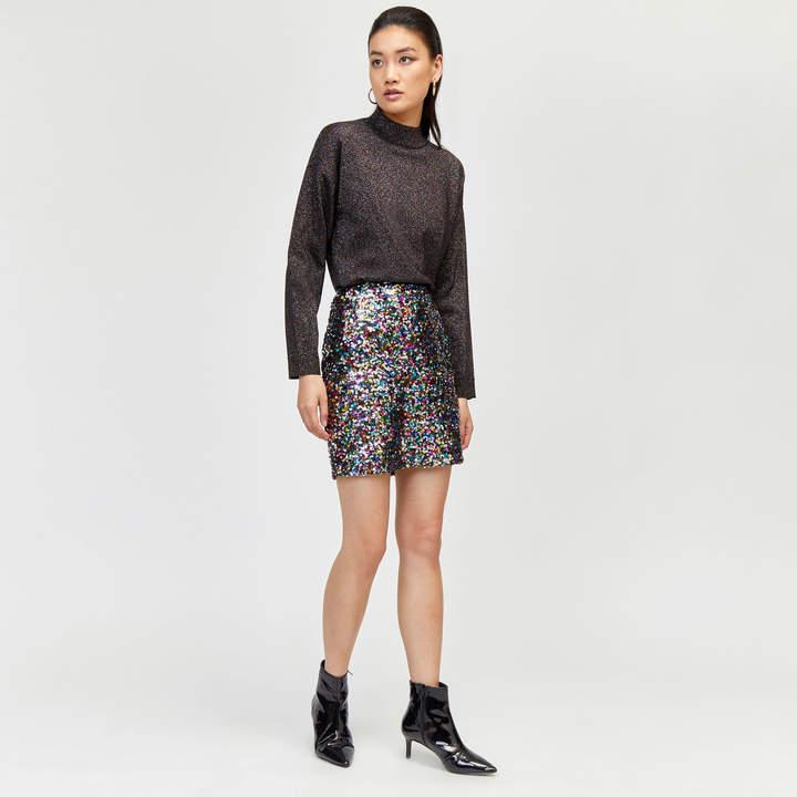 Rainbow Sequin Mini Skirt