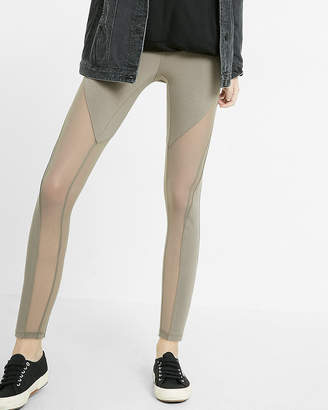 Express Mid Rise Sexy Stretch Cut-Out Mesh Leggings