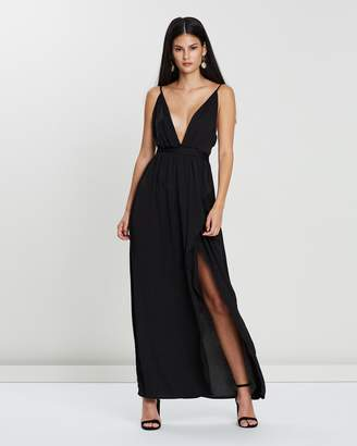 Missguided Plunge Satin Tie Maxi Dress