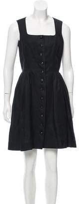 Hermes Leather-Trimmed Linen Dress