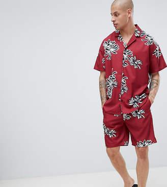Asos DESIGN pyjama set in silky fabric with floral print