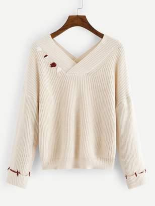 Shein Drop Shoulder V Neck Sweater