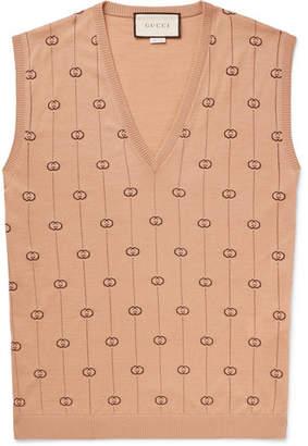Gucci Logo-Jacquard Wool-Blend Sweater Vest - Men - Camel