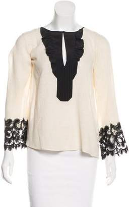 Schumacher Dorothee Lace-Trimmed Long Sleeve Top