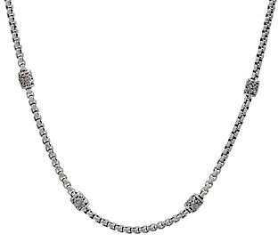 """JAI Sterling Silver Textured Station Box Chain18"""" Necklace"""