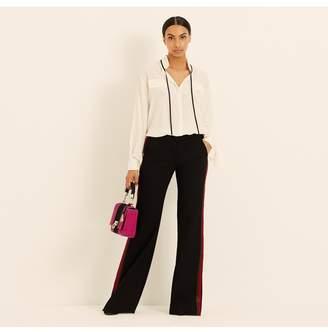 Amanda Wakeley Black Ribbon Trim Flared Trousers