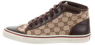 Gucci GG Wingtip Canvas High-Top Sneakers