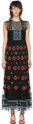 RED Valentino Black Cross Stitched Long Dress