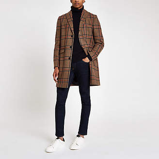 River Island Brown check wool overcoat