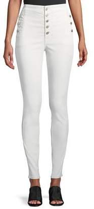 J Brand Natasha Sky High Button-Fly Coated Skinny Jeans