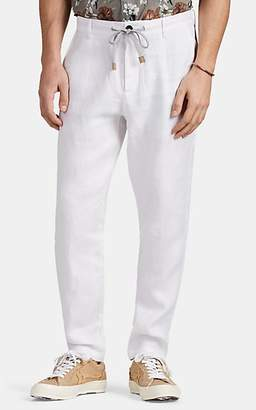 Eleventy Men's Drawstring Linen-Cotton Trousers - White