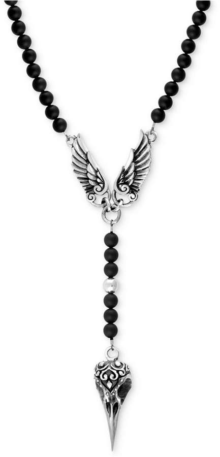 King Baby Studio Men's Onyx Beaded Wing and Raven Skull Pendant Necklace in Sterling Silver