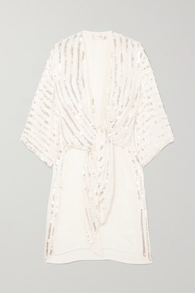 Temperley London Neri Tie-front Sequin-embellished Crepe Kimono - Ivory