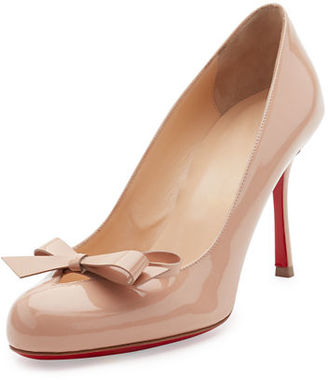 Christian Louboutin Vinodo Patent Bow 85mm Red Sole Pump $745 thestylecure.com