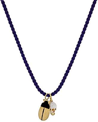 Luis Morais 14ct Yellow Gold Skull with Moving Jaw Cord and Scarab with Bullet End Necklace of Length 76cm