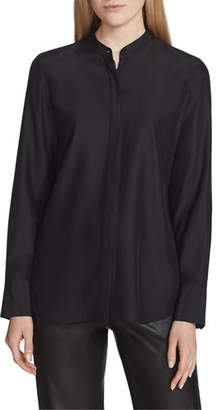 Lafayette 148 New York Julianne Matte Silk Blouse with Detachable Embellished Collar