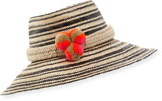 Guanabana Handmade Guajiro Striped Mawisa Sun Hat, Black/Natural