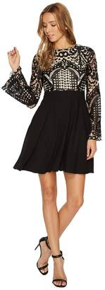 Aidan Mattox Long Sleeve A-Line Lace and Crepe Cocktail Dress Women's Dress