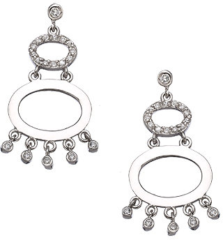 Tang and Song Sterling Silver and Diamond Graduated Dangling Hoop Earrings
