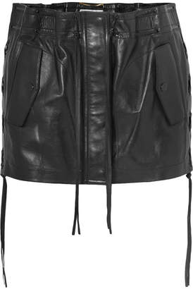 Saint Laurent Lace-up Leather Mini Skirt - Black