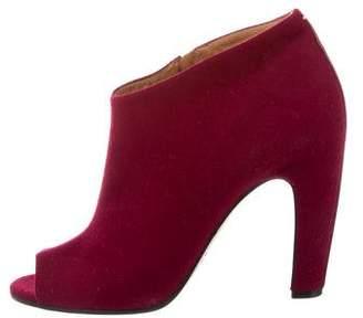 Maison Margiela Felt Peep-Toe Ankle Boots