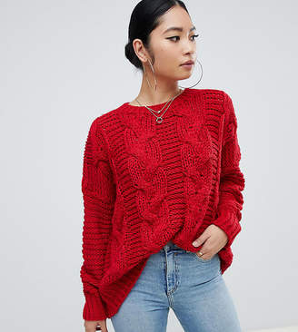 Missguided Petite boyfriend cable knit jumper in red