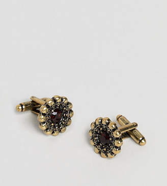 Reclaimed Vintage Inspired Red Jewel & Skull Charm Cufflinks In Gold Exclusive To ASOS