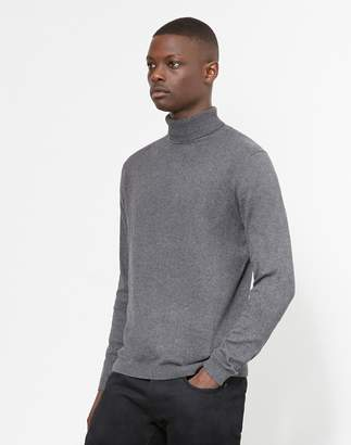 The Idle Man Turtle Neck Jumper Grey